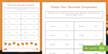 Candy Corn Decimals Comparison Activity - Halloween, tenths, Hundredths, Thousandths, Comparing numbers, comparing decimals, place value, math