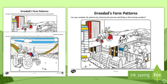 Grandad's Farm Patterns Worksheet / Activity Sheet -  ROI, on the Farm, farm animals, sequences, repeating patters, Aistear, Story, Maths, Worksheet / Activity Sheet