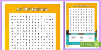 An Phictiúrlann Differentiated Word Search-Irish