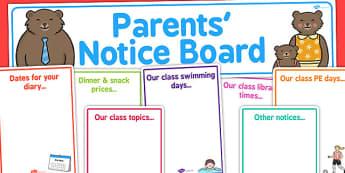 Editable Parents' Notice Board Pack - Parent Notice Board, Notice Board, Notice Display, Parents, Display, Notices, Parents' Information, Information