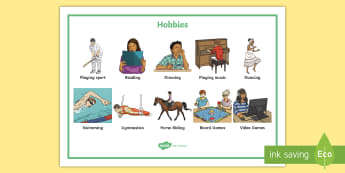 Hobbies Word Mat - Sports, reading, music, interests, pastimes