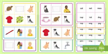 CVC Bingo - bingo, sen, words, speaking, listening