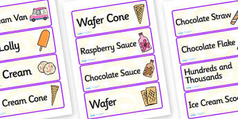 Ice Cream Van Role Play Labels - ice cream van, role play, labels, ice cream van labels, ice cream role play, role play label, labels for ice cream van