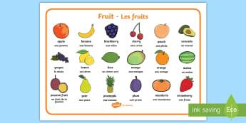 Fruit Word Mat English/French  - Fruit word mat, fruit words, word mat, Foundation stage, apple, orange, satsuma, pear, banana, tange