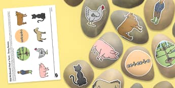 Old McDonald Had a Farm Story Stones Image Cut-Outs - Story stones, stone art, painted rocks, Nursery Rhymes, song