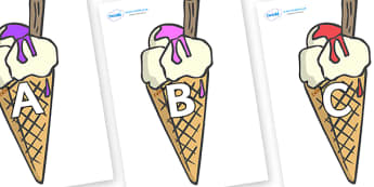 A-Z Alphabet on Ice Creams to Support Teaching on The Very Hungry Caterpillar - A-Z, A4, display, Alphabet frieze, Display letters, Letter posters, A-Z letters, Alphabet flashcards