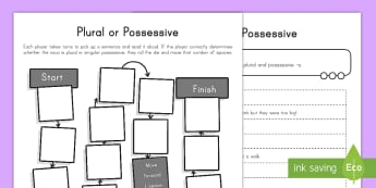 Plural or Possessive Game Activity Sheet - plural, possessive, game, English, activity, worksheet, vocabulary, apostrophe, grammar, word word,