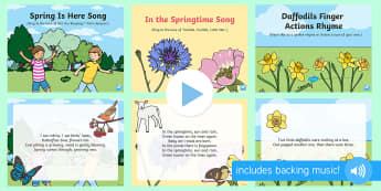 Signs of Spring Songs and Rhymes PowerPoints Pack - EYFS, Early Years, Key Stage 1, KS1, spring, plants and growth, flowers, seasons, weather, rainbow,