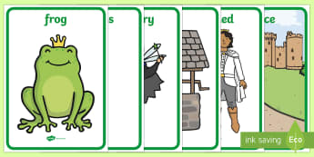 The Frog Prince Display Posters - Frog, princess, prince, evil fairy, splash, kiss, display, banner, poster, sign, well, king, bed, sleep, golden ball, beautiful, fell, plate, palace, traditional tale, story, book, story resources