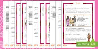 Diwali Differentiated Reading Comprehension Activity - Diwali, Hinduism, reading comprehension, English, India, festivals