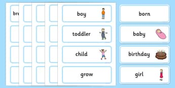 Human Growth Word Cards - Growth Topic, Grow, word card, flashcards, Ourselves, All About Me, Growing, baby, child, adult, growing up, age, old, young