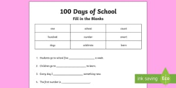 100th Day of School Fill in the Blanks Cloze Activity Sheet - 100th Day of School, 100, one hundred, 100 days smarter, fill in the blanks, cloze