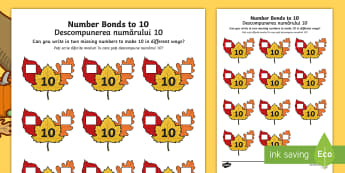 Autumn Leaf Number Bonds to 10 Activity Sheet Romanian/English  - numeracy, number, addition, number bonds, addition pairs, maths, year 1, y1, autumn , worksheet, EAL