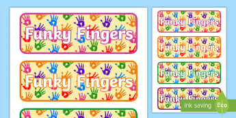 Funky Fingers Drawer Peg Labels - Funky Fingers Display Poster 4xA4 - funky fingers, display poster, 4xA4, display, poster