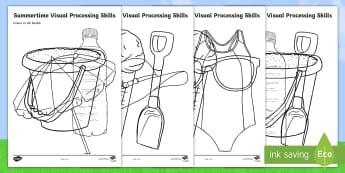 Summertime Visual Processing Skills Activity Sheets - summer, summertime, visual processing skills, summer items, visual skills, colouring, worksheet