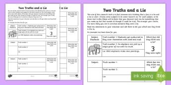 Two Truths and a Lie Activity Sheet - fact, fiction, truth, myth, mythbusters, truth game, worksheet
