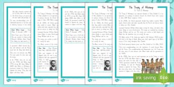 The Treaty Of Waitangi Differentiated Reading Comprehension Activity - Waitangi Day, Treaty of Waitangi