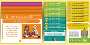 Foundation Australian HASS Inquiry Skills Content Descriptor Statements Display Pack - Geography, knowledge and understanding, Kindergarten, Early Stage 1, Australian Curriculum, posters,
