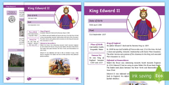 Significant Person King Edward II Fact File-Scottish - King Edward ii, CfE Scottish Significant Individuals, Robert the Bruce, Bannockburn, the Bruce, fact