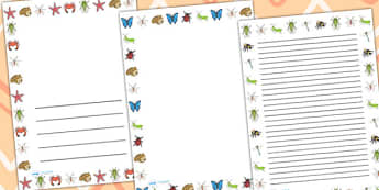 Minibeasts Page Border Portrait - writing template, writing frame