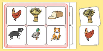 Little Red Hen Matching Cards and Board - the little red hen, little red hen picture matching activity, little red hen matching game, sen storybook games