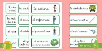 * NEW * Tarjetas de vocabulario: El hospital  - Medicina, médico, médica, salud, hospital, enfermero, enfermería, enfermero, enfermedad, enfermed
