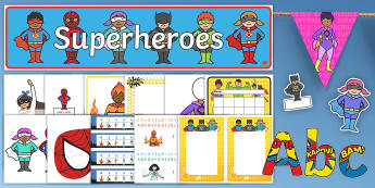 Superhero-Themed Classroom Set-Up Resource Pack - display, alphabet, bulletin board, labels, decorations, Superheroes
