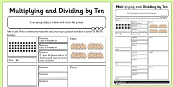 Multiplying and Dividing by 10 Activity Sheet - multiply, divide, 10, activity, worksheet