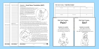 God: The Creator Activity Sheets - design argument, first cause theory, creation, big bang, creator, designer, creation story, Genesis,