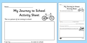 Aistear Transport My Journey to School Activity Sheet - roi, irish, republic of ireland, aistear, transport, worksheet