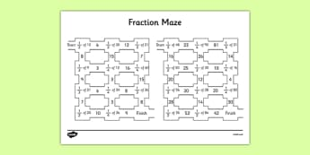 Halves, Quarters and Thirds Fractions Maze - halves, quarters, thirds, fractions, maze, activity