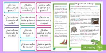 Comprensión lectora: Cuento con tarjetas de preguntas - Un pícnic en el bosque - preguntas, comprensión lectora, comprensión de lectura, comprensión, leer, lectura, NEE, pregunta