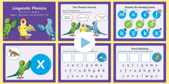 Northern Ireland Linguistic Phonics Stage 1 j, e, v, x, l, w, y, z PowerPoint - Sounds, CVC, VC, Segmenting, Blending, Phonemes, Graphemes