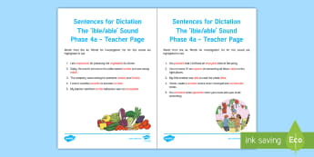 Northern Ireland Linguistic Phonics Stage 5 and 6, Phase 4a, 'ible/able' Dictation Sentences Activity Sheets  - NI, Irish, Investigation, Phoneme, Grapheme, Letter, writing, listening