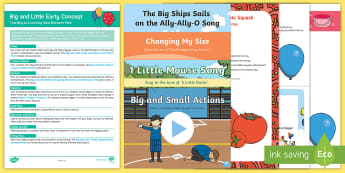 Big and Little Early Concept Teaching and Learning Ideas Resource Pack - Baby Room, Birth To Two, Birth To 2, Toddler, size, compare, comparing, comparison, small, large, ss