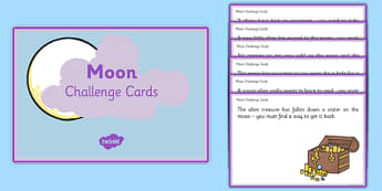 Moon Challenge Cards - EYFS, early years, Space, planets, aliens, the moon, rockets, spaceships, challenge cards, activities