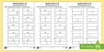 Bar Modelling Number Bonds to 10 Differentiated Activity Sheet Pack - English/Romanian - Bar Modelling Number Bonds to 10 Differentiated Activity Sheets - bar model, bar modelling, number b