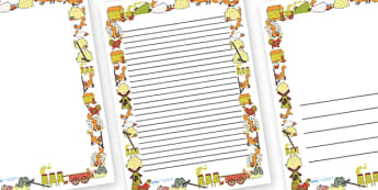 Page Borders to Support Teaching on Rosie's Walk - Rosie's Walk, story, Pat Hutchins, book, page border, border, writing template, writing aid, Rosie, fox, farm, story book, story resources, Rosie Walk