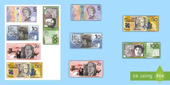 Australian Notes Cut-Outs - Australian currency, money, notes, coins, Australian curriculum, maths, ACMNA034, australian coins,