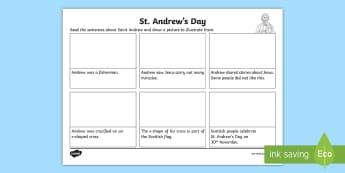St. Andrew's Day Read and Draw Activity Sheet - Saints, Scotland, Patron Saints, Scottish events, November,Scottish