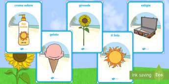 Estate Poster - l, estate, stagioni, stagionale, vacanze, estive, mare, sole, occhiali, materiale, scolastico, poste