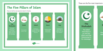 Five Pillars of Islam Display Poster - Islamic Practices GCSE Material, hajj, sawn, zakah, salah, shahadah.