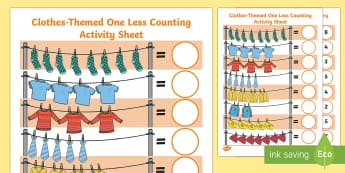 Clothes-Themed One Less Counting Activity Sheet - Mathematics, Number, Counting, Amount, Quantity, Less, Clothes, Activity Sheet, Weather, Early Years