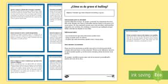Tarjetas educativas para reflexionar y prevenir el bulling Tarjetas educativas - Bulling, acoso, acoso escolar, molestar, abuso, abusón, matón, problemas de convivencia, convivenc