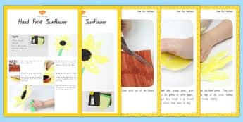 Hand Print Sunflowers Craft Instructions - nz, new zealand, spring, activity