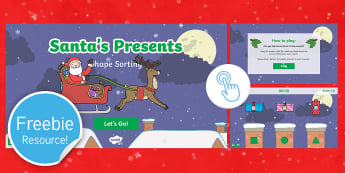 Santa's Presents: 2D Shape Sorting Game - twinkl go, go, christmas, maths, recognition, rudolf, sleigh, 2d shapes, polygons, chimney, father c