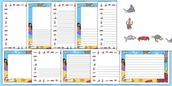 The Little Fish Page Borders Pack - tiddler, tiddler, early years, eyfs, nursery, reception, fish, under the sea, ocean, writing, frame, sheet, lines, lined