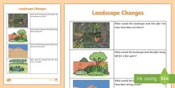 Landscape Changes Read and Draw Worksheet / Activity Sheet - landscapes, earth and space science, Australian curriculum, Year one Australian science, landscape c