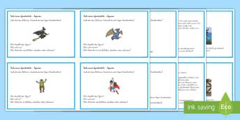 Teile einer Geschichte - Lesefertigkeit trainieren: DIN A4 Karteikarten - Lesen, Leseverstehen, Lektüre, Märchen, Bücher, Buch, Druckschrift, Schreibschrift, German