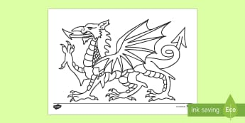 Welsh Dragon Colouring Page - Dewi Sant (St David's Day 1.3.17), Welsh